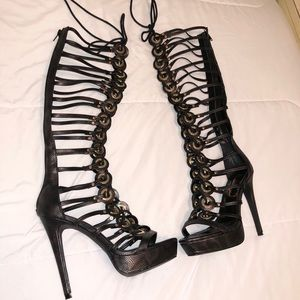 "Privileged ""Work It"" Black Knee High Caged Heel"